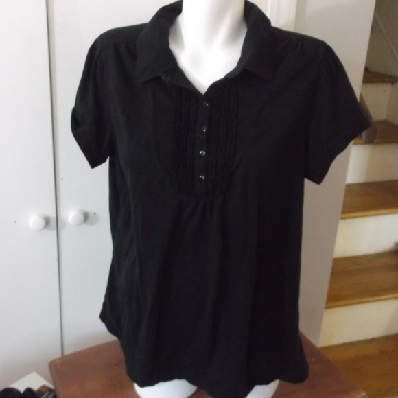 3ebfb21614c Just My Size Tops - Black Knit Ruffle Jersey Top 2X 18W-20W JMS